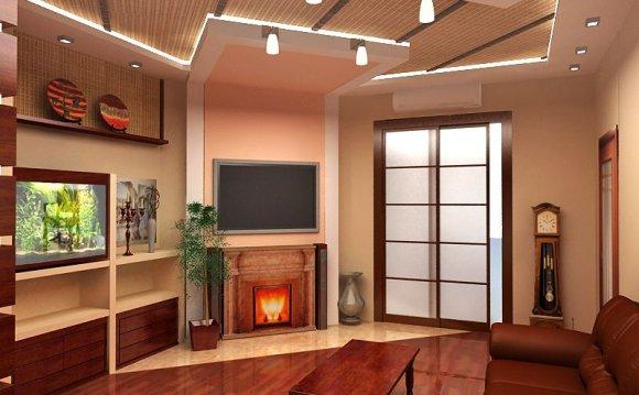 Дизайн гостиной с камином в